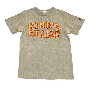 Champion T shirt small Kings college PA gold red